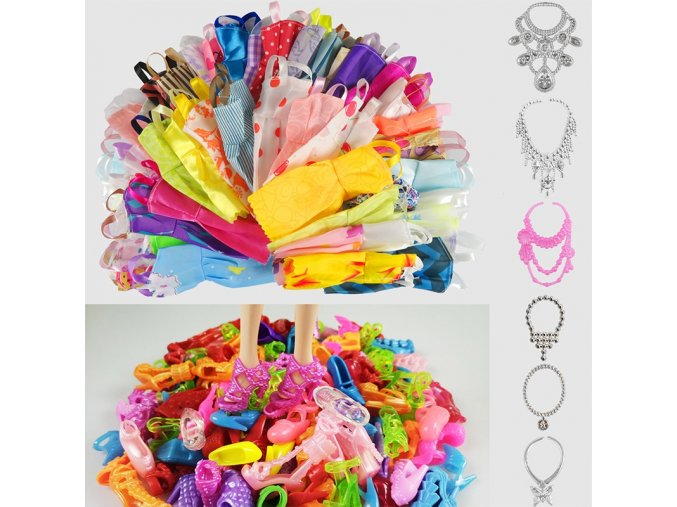 Hot Sell 26 Item Set Accessories 10PCS Mix Sorts Beautiful Barbie Clothes Fashion Dress 6Plastic Necklace 1
