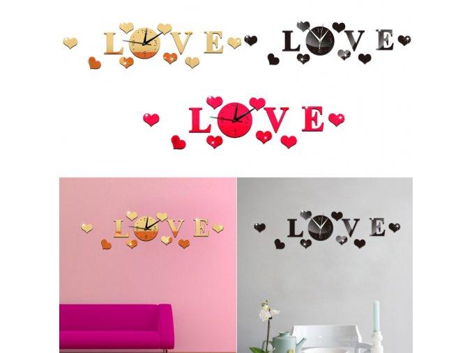 Nástěnné 3D hodiny Love