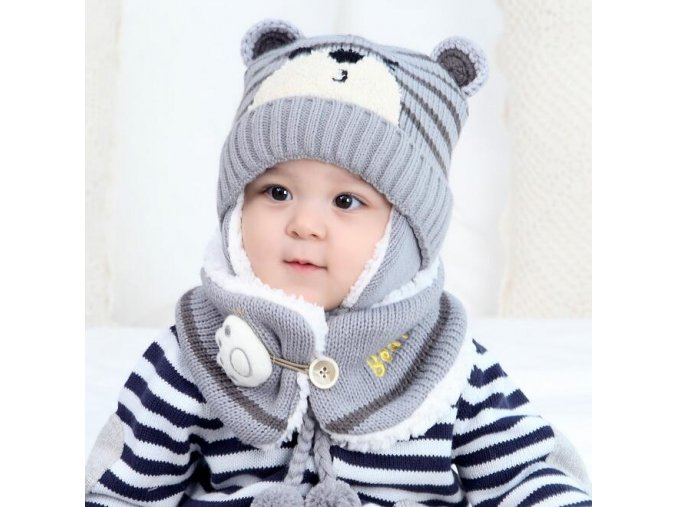 Unisex Child Beanies Cap Set Baby Kids Cartoon Design Stripe Knit Add Velvet Hat and Scarf 5