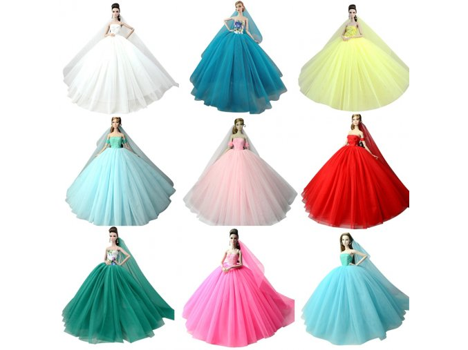 NK Doll Dress High quality Handmade Long Tail Evening Gown Clothes Lace Wedding Dress Veil For 1 (1)