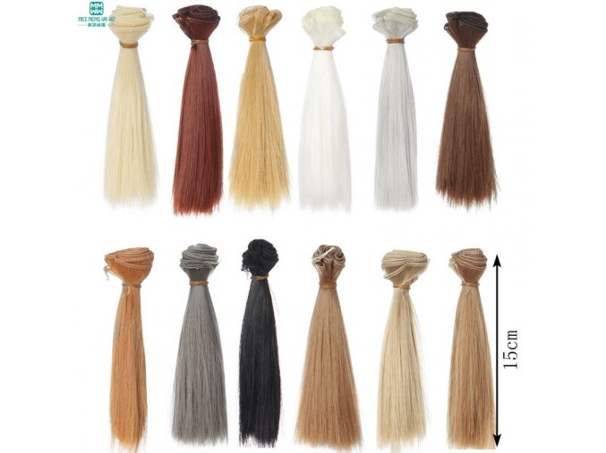 1pcs 15cm 100CM black gold brown straight hair for dolls 1 3 1 4 BJD doll 1