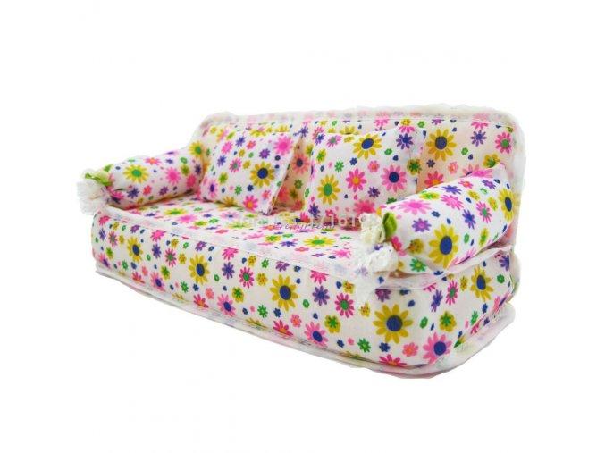 1 Pcs Mini Sofa Play Toy Flower Print Baby Toy Plush Stuffed Furniture Sofa With 2x 1