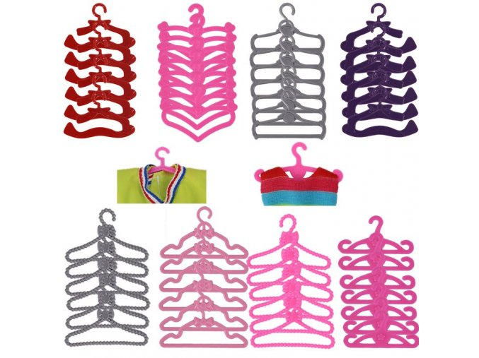 LeadingStar 20 Pcs Lot Pink Hangers Dress Clothes Accessories For Barbie Doll Pretend Play New year 1