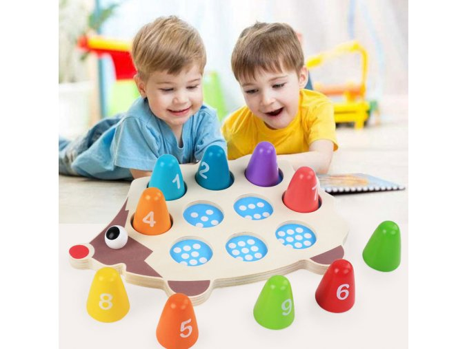 Baby Educational Wooden Montessori Toys Cartoon Hedgehog Learning Colorful Number Matching Math Toys For Children UJ2666H 1