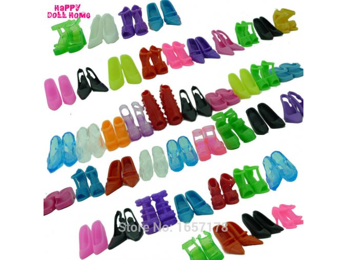 12 Pairs Mixed Fashion Colorful High Heels Sandals Accessories For Barbie Doll Shoes Clothes Dress Prop 1