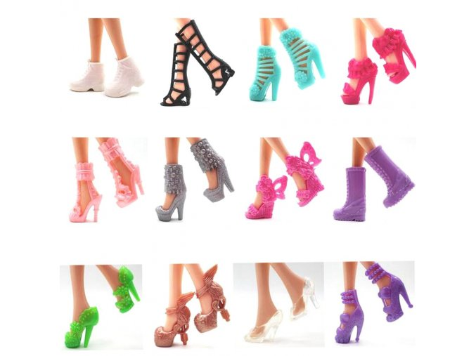 NK 12 pairs Doll Shoes Fashion Cute Colorful Assorted shoes for Barbie Doll with Different styles 1