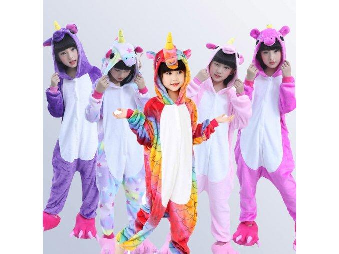 Flannel Children Pajamas Set Winter Hooded Animal Unicorn Kids Pajamas For Boys Girls Sleepwear Onesies 4 1