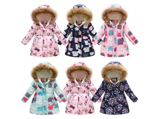 3 10Yrs Children s Thicken Winter Coat Girls Cute Printing Warm Coats Girl Winter Cotton Cartoon 1