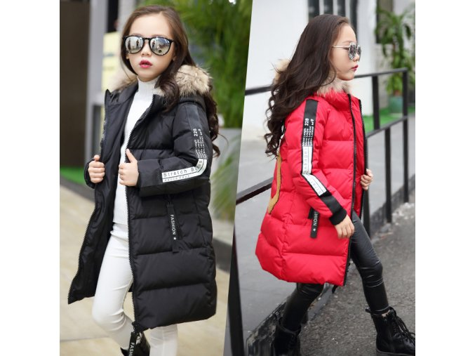 Hot 2018 girls Winter New Cotton Jackets Girls Fashion Fur Collar Letters Coats Girl Thickening Hooded 1