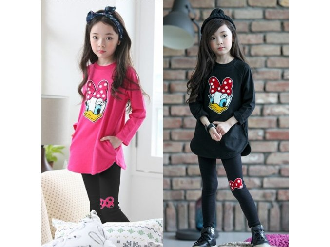 2018 New spring Girls clothes Sets Cartoon Donald Duck Lovely print Children Tracksuit kids clothing suit 1