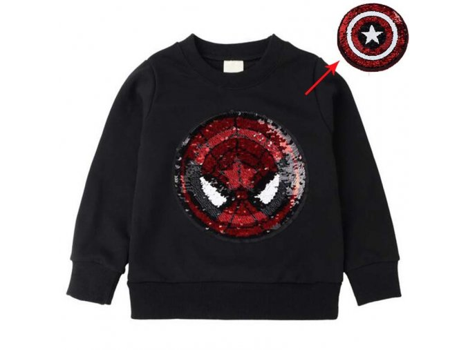 colorful superman hoodies magic discoloration sequin spiderman cartoon paillettes soccer sweatshirt for boys and girls spiderman black