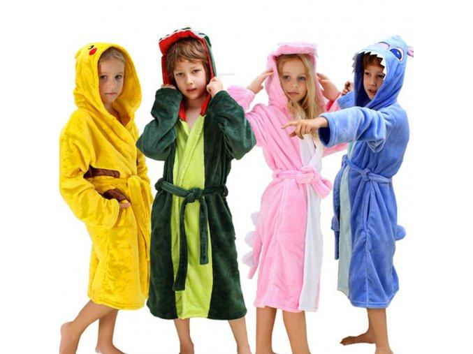 Kids Dinosaur Robes Pokemon Pikachu Boys Girls Sleepwear Pajamas Children s Bathrobe Flannel Hoodie Robe Enfant 1