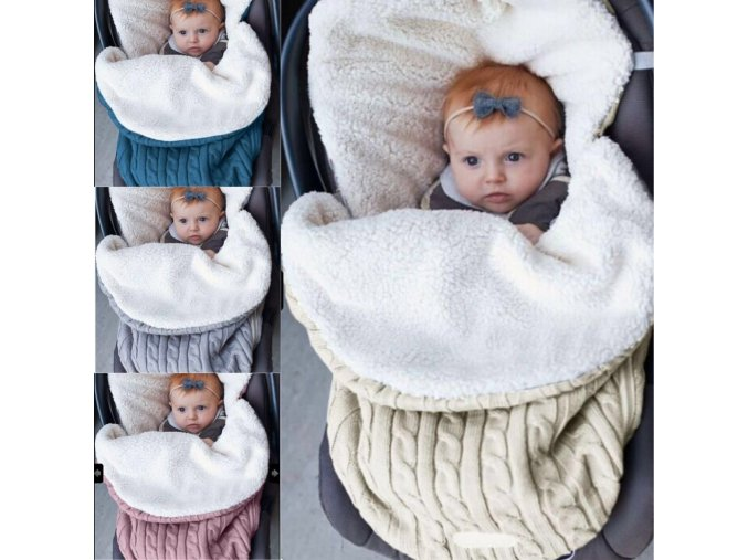 Baby sleeping bag baby thickening plus velvet knit warm sleeping bag wool stroller sleeping bag 1
