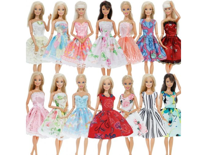 Handmade Mini Dress Mixed Style Casual Dating Wear Lace Skirt Floral Pattern Gown Clothes For Barbie 1