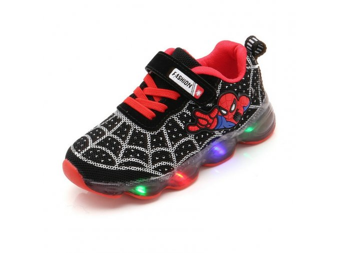 Cartoon Fashion Spider man Kids Shoes with Light Air Mesh Children Luminous Sneakers Boy Girl Led 1