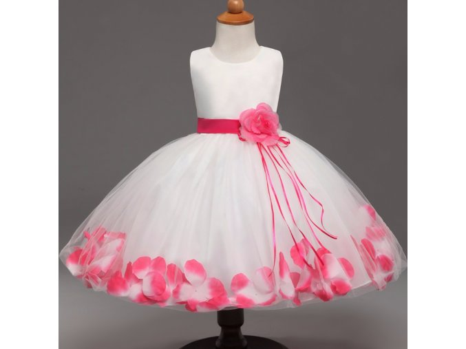 Bílé tylové šaty s barevnými květy