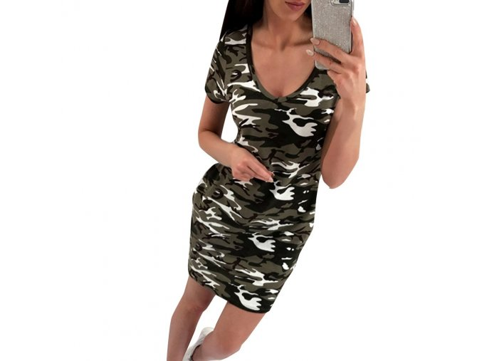 New Arrival 2019 Summer Fashion Women Clothing Casual Short Sleeve V Neck Camouflage Dresses Sexy Mini 1