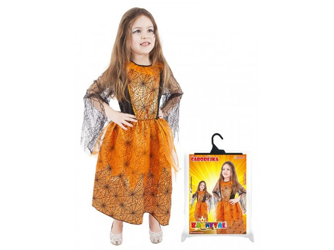 Dětský kostým Halloween oranžový, S (4-6 let)
