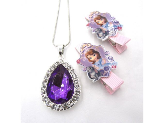 1set Sofia The First Necklace For Kids Girl Hairpin Purple Amulet Pendant Necklaces Children Hairwear Birthday Model 2