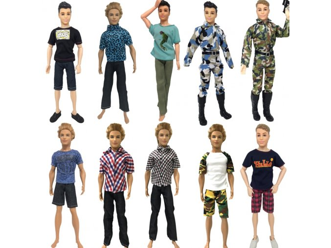 6 NK One Pcs Doll Casual Wear T Shirt Trousers Summer Outfit Short Pants Ken Clothes Mix
