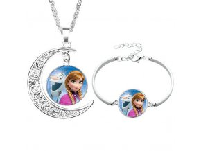 2pcs lot Disney cartoon Frozen children necklace Bracelet Elsa bow doll accessories girl birthday gift cosmetic 8