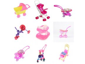 Dollhouse Furniture Mini Baby Walker Stroller Carriages Shopping Cart Dolls For Mini Dolls Children Girl Furniture 0