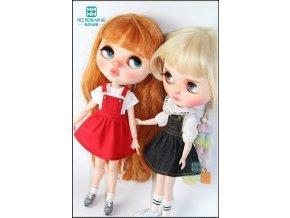 1pcs Blyth Doll Clothes Denim strap dress black red denim blue Pink for Blyth Azone1 6 5