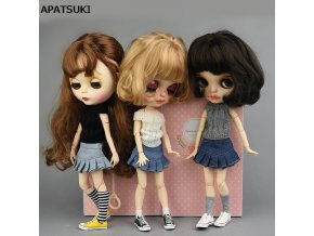 Blue Jeans Casual Wear Clothes For Blythe Doll Kids Toy A line Skirt For Blyth Licca 0