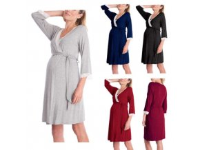 Women Summer Pregnant Maternity Feeding Nursing Sleepwear Pajamas Long Sleeves 1