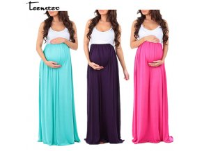 Teenster Maternity Clothing Maternity Dresses Sleeveless Pregnancy Dress Vestido Patchwork Large Pendulum Gravida Clothes 0