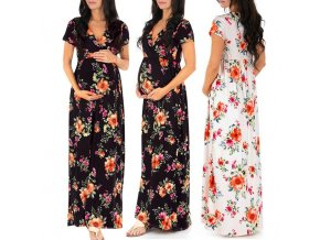 dress pregnant Pregnant Womens Nursing Pregnancy Dress Floral Printing Maternity Long Dress femme enceinte robe sukienka 0