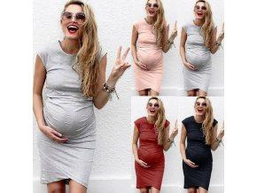 2019 New Maternity Clothes Women s Comfortable Casual Daily Wear Pregnant Maternity Solid Color Dress for 1