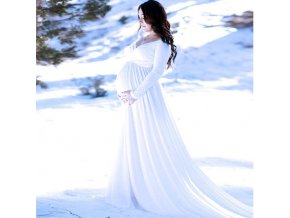 Long Tail Maternity Dresses for Photo Shoot Maternity Photography Props Maxi Dresses for Pregnant Women Clothes 3