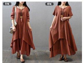 Envsoll 2019 Maternity Dresses Fake Two piece Pregnancy Dress Literary Linen Dress Clothes for Pregnant Women 5