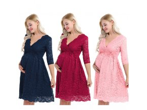 Womens Maternity Elegant Floral Lace Overlay V Neck Half Sleeve Knee Length Pregnant Photography Dress for 1 kopie