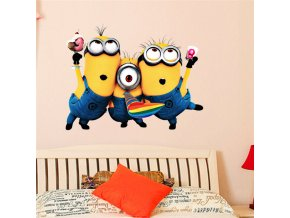 Cartoon Minions Wall Art Stickers For Home Decoration Kids Bedroom Wall Decals Diy 3d Anime Movie 0