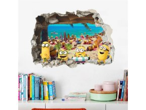 Lovely Minions Sea Beach 3d Broken Hole Wall Stickers For Kids Room Decoration Mural Art Anime 0