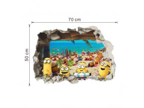 minions through wall stickers kids room decorations 9268 diy home decals window mural art cartoon movie 4