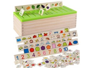 Mathematical Knowledge Classification Cognitive Matching Kids Montessori Early Educational Learn Toy Wood Box Gifts for Children 0