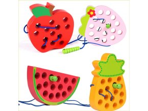 educational toys fun wooden toys worm eat fruit apple pear early childhood teaching baby toy gift 0
