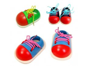 1Pc Kids Montessori Educational Toys Children Wooden Toys Toddler Lacing Shoes Early Education Montessori Teaching Aids 0