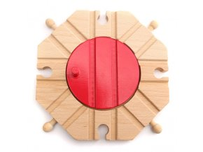 EDWONE Red Switch Tracks Wood Bang Track Wood Railway Train Accessories Track Bridge Piers With Fit 0