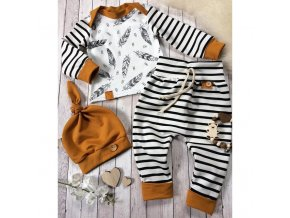 Winter Baby Newborn Baby Boy Girl Clothes Feather T shirt Tops Striped Pants Clothes Outfits Set 0
