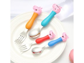 Peppa Pig Tableware Spoon Cross Fork Soup Spoon Set Dining Lunch George Action Figures Anime Figures 0