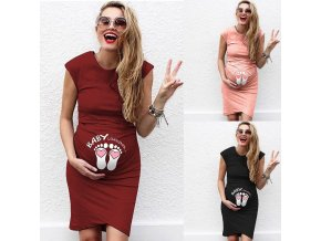 Pregnant Women sleeveless Dress Baby Foot Printed Summer Funny Casual Maternity Dress Mother Maternity Clothes dress 1