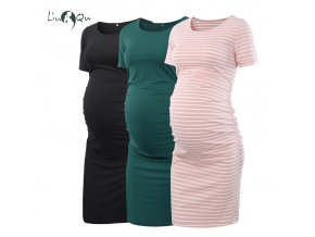 Pack of 3pcs Women s Side Ruched Maternity Clothes Bodycon Dress Mama Casual Short Sleeve Wrap 1 (1)
