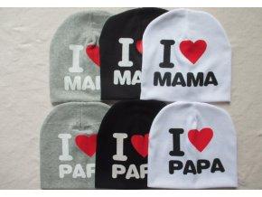 Čepice I love mama, I love papa