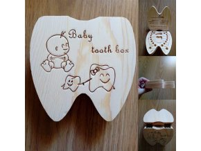 Baby Tooth Box Poland English Dutch Russian French Italian Wooden Milk Teeth Organizer Storage Boys Girls 1