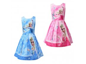 2 Color Girls Dress Summer Cosplay Snow Elsa Anna Dresses For Girls Birthday Gift Costume Dress 1