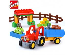 Happy Farm Large Building Blocks Sets Friends Figures Animal DIY Baseplate LegoINGLs Duplo Bricks Educational Toys 1